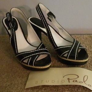 Studio Paolo Black with white accents slingback 8M